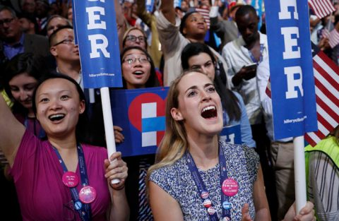 Female delegates cheer as Democratic presidential nominee Hillary Clinton accepts the nomination on the fourth and final night at the Democratic National Convention in Philadelphia, Pennsylvania, U.S. July 28, 2016. REUTERS/Mark Kauzlarich